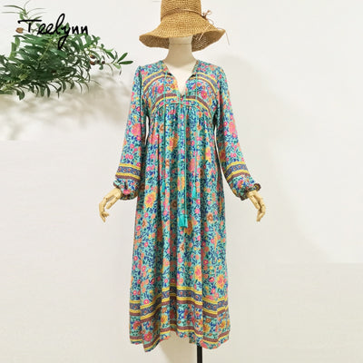 TEELYNN Green floral print boho dress autumn rayon V-neck long sleeve tassel women dresses bohemia loose Hippie dresses