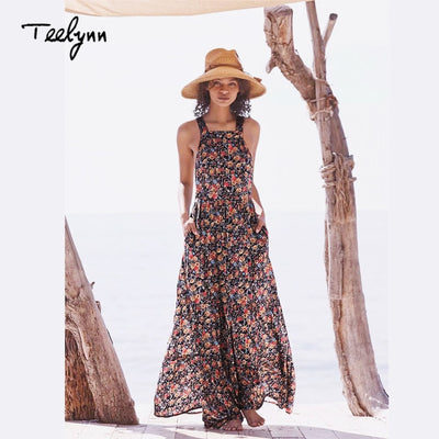 TEELYNN Sleeveless boho long dress Floral print pinafore dress strap sexy backless summer dresses beach Hippie women dress