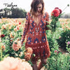 TEELYNN Vintage mesh Floral Embroidery Dresses autumn long sleeve dress sexy backless mini women dress short boho vestidos