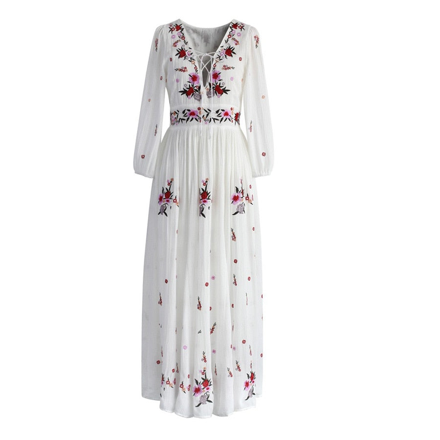 b2986677ec4cb TEELYNN White boho long dress cotton 2018 Vintage floral Embroidery tassel  Casual maxi dresses hippie women dress brand clothing