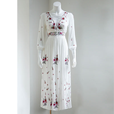 TEELYNN White boho long dress cotton Vintage floral Embroidery tassel Casual maxi dresses hippie women dress brand clothing