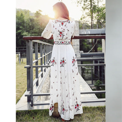 TEELYNN White boho long dress cotton Vintage floral Embroidery tassel Casual maxi dresses hippie women dress clothing