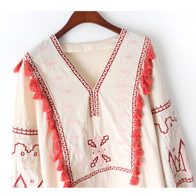 TEELYNN black Boho blouse autumn Ethnic embroidery V-neck puff long sleeve Blouses Shirt Casual blouse Hippie Women blusas