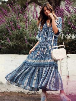 TEELYNN boho Dress blue floral print sexy v-Neck summer Dresses loose waist holiday Bohemia rayon long women dress vestido
