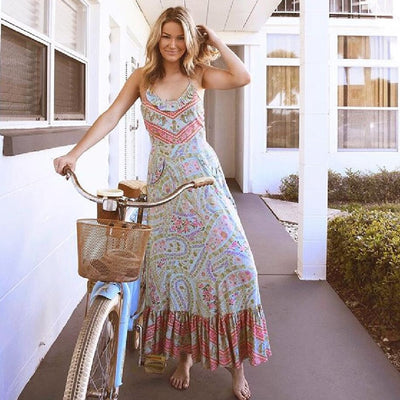 TEELYNN long Boho dress floral print sexy sleeveless strap summer dresses backless beach wear hippie women dresse vestidos