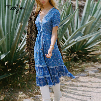 TEELYNN long boho dress autumn rayon Floral print dresses short sleeve sexy v-neck dress Hippie Bohemia women dress Vestido