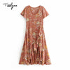 TEELYNN long boho dress autumn Dark khaki rayon Floral print dresses Irregular hem short sleeve dress o-neck Hippie women dress