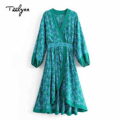 TEELYNN long boho dress autumn green rayon Floral print dresses Irregular hem long sleeve dress deep v-neck Hippie women dress