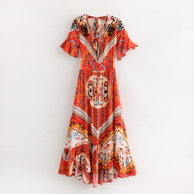 TEELYNN maxi boho dress red Floral print sexy deep v-neck embroidery backless summer dresses beach Hippie long women dress