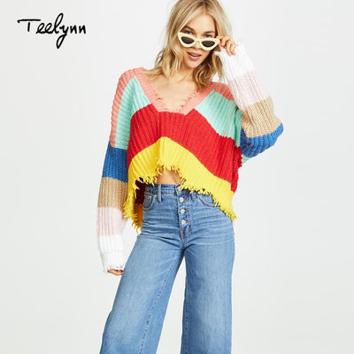 TEELYNN short Boho sweater autumn Color stripe long sleeve pullovers sexy deep v-neck sweater loose knitted women sweaters