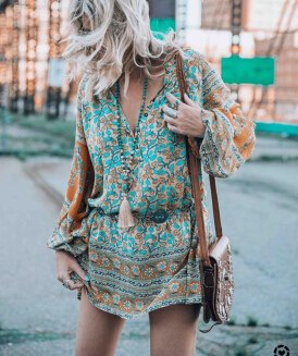 TEELYNN short Boho women dresse autumn rayon floral print long sleeve dresses loose Casual Bohemia Gypsy mini dress vestido