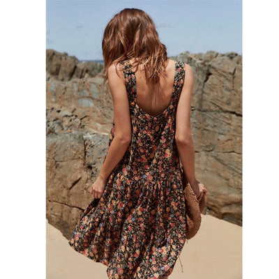TEELYNN strap summer dresses floral print sexy sleeveless slash neck hippie women dresse beach wear Boho dress vestidos
