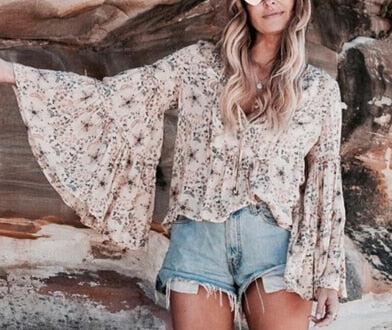 TEELYNN yellow Boho blouse Floral print blouses flare o-neck long Sleeve Bohemia loose Hippie Vinatge autumn women blouses