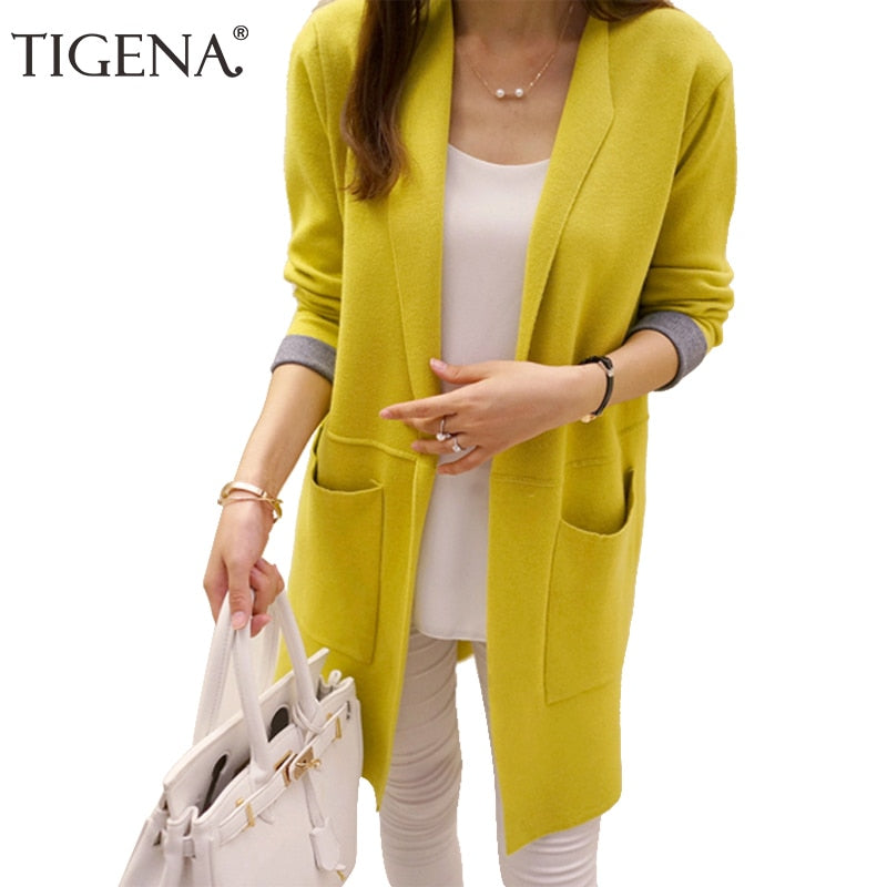 a3598e5b50f TIGENA Long Cardigan Female 2018 Autumn Winter Women Long Sleeve Cardigan  Sweater Knitted Cardigans For Women