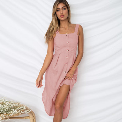TIGENA Women Summer Dress Single Button Backless Tunic Long Beach Dress and Sundress Black Pink White Dress Robe Femme