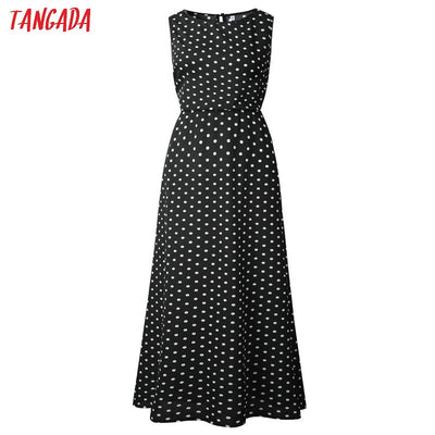 Tangada summer women maxi dress long korean style polka dot dress vintage ladies dresses sleeveless robe femme ete AON42