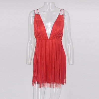 Tassel Sexy Backless Dress Women White Red Black Spaghetti Strap Party Dress V Neck Mini Summer Dress Vestido