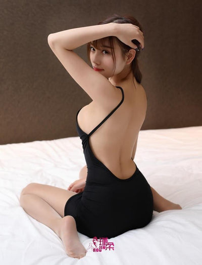 Thin Ice Silk See Through Strip Halter Backless MINI Dress Sexy Women Bodycon Tight Dress Transparent Night Club Erotic Wear 12
