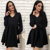 Three Quarter Sleeve Pleated Autumn Dress Women Solid Colour Ruffles O-neck A-Line Casual Loose Mini Dresses Vestidos