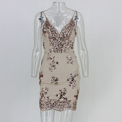 Tobinoone New Summer Gold Backless Dress Women Ball Party Flowers Sequined Dresses Sexy Bodycon Slim Sleeveless Mini Dress