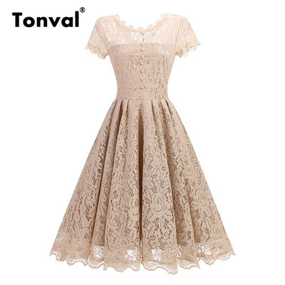 Tonval Vintage Lace Elegant Pleated Dress Women Short Sleeve Backless Party Sexy Dress Retro Summer Ladies Dresses