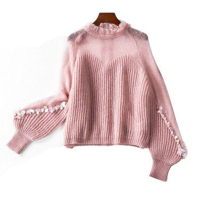 Top Quality Women Sweaters Autumn Winter Jumpers Women Sequined Patchwork Long Sleeve Plus Size Sweaters Casual Pullovers