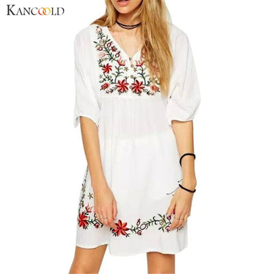 Trendy Women Mexican Ethnic Style Embroidery Pessant Hippie Blouse Summer Gypsy Lady Boho Loose Mini Dress V-Neck vestidos Sep28