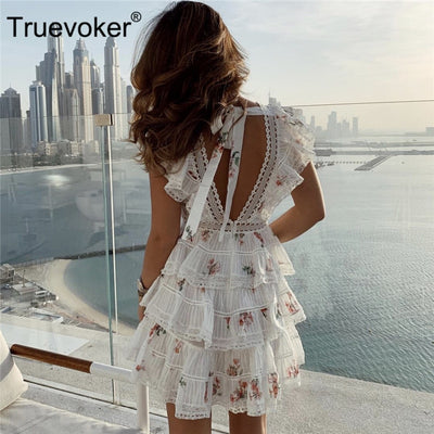Truevoker Summer Designer Cake Dresses Women Cute Little Floral Printed Backless Lace Patchwork Layer Vestido Robe Femme Ete