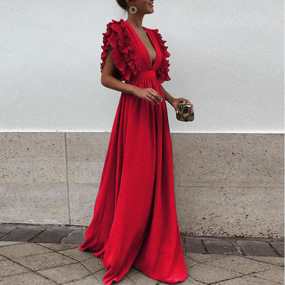 Try Everything Red Dresses For Woman Evening Long Dress Summer Plus Size Elegant Party Dress Ruffle Sleeve Dresses Women