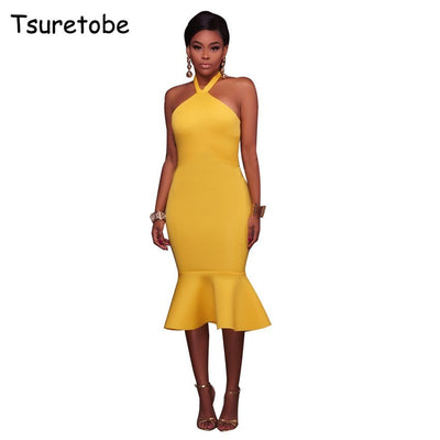 Tsuretobe Sexy Sleeveless Halter Backless Dress Women Ruffle Elegant Bodycon Pencil Dress Mid-Calf Off Shoulder Dresses Female