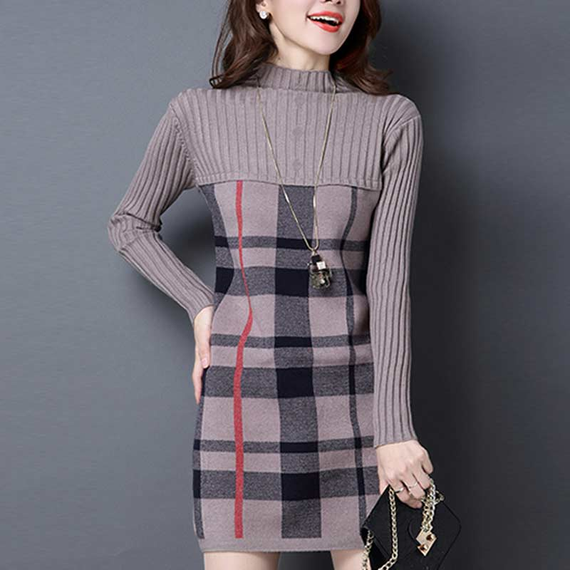 UPPIN 2019 New Loose Women Autumn Winter Dress Turtleneck Long Sleeve Plaid  Knitted Sweater Dress Female caa0e3f05