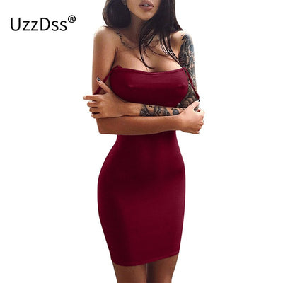 UZZDSS Sexy Spaghetti Strap Bodycon Backless Dress Women Slim Bandage Pencil Dresses Club Party Beach Women Vestidos