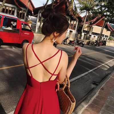 UbeiSummer women wear halter top backless dress chiffon red/black long dress Bohemian maxi dress beach resort dress