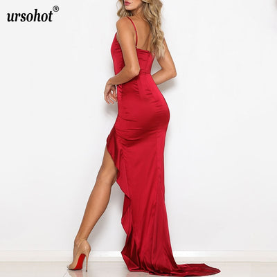 Ursohot Sexy Spaghetti Strap Backless Dress Women Split Long Dress Asymmetrical Big Wing Dresses Women Elegant Party Vestidos