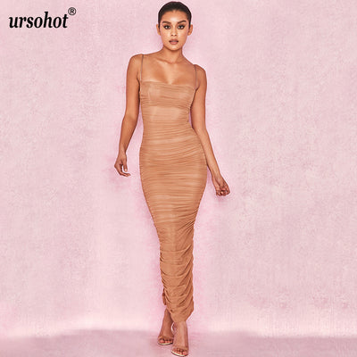 Ursohot Summer Split Strap Ruched Dress Perspective Long Clubwear Elegant Bodycon Maxi Dress Mesh Organza Wrinkle Women Dress