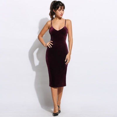 V-Neck Vintage Elegant Sleeveless Side Pencil Slit Evening Solid Backless Dress Women Style Sexy Party