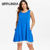 VESTLINDA Sleeveless Lace Hemline Shift Dress Women O Neck Casual Loose Solid Mini Vestido De Festa Summmer Shift Dresses