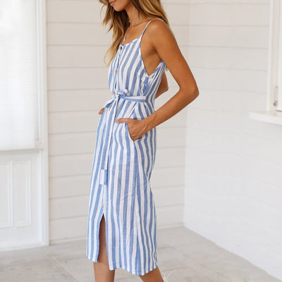VIEUNSTA Fashion Women Striped Print Summer Dress Elegant Off Shoulder Backless Strap Beach Dress Female Button Midi Dress Belt