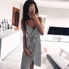 VIEUNSTA Striped Print Spaghetti Strap Summer Dress Women V Neck Backless Split Irregular Dress Elegant Sleeveless Beach Dresses