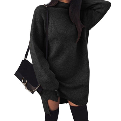 VITIANA Women Loose Casual Dress Female Autumn Winter Long Sleeve Solid Khaki Knitted Elegant Sweater Office Work Dresses