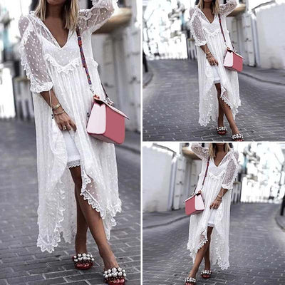 VONDA Boho Summer Sexy White Lace Dress Women V-Neck Dot Hollow Asymmetrical Hem Dress Holiday Cardigan Vestidos Plus Size