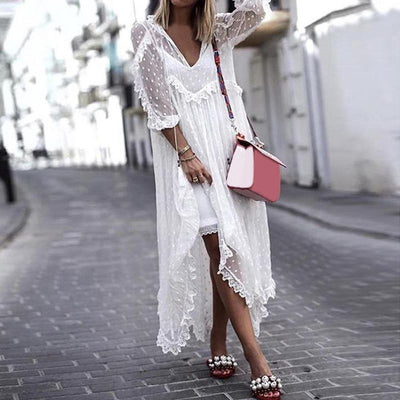 VONDA Summer White Lace Cardigan Dress Boho Women Sexy V-Neck Dot Hollow Asymmetrical Hem Dress Vestidos Plus Size