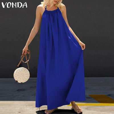 VONDA Women Bohemian Maxi Long Dress Summer Sexy Sleeveless Halter Dress Backless Casual Loose Party Vestidos Plus Size 5XL