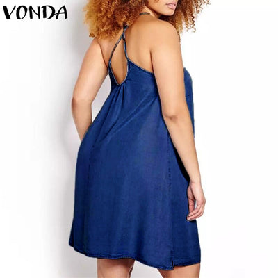 VONDA Women Sexy Mini Dresses Summer Casual Loose Sleeveless Halter Neck Spaghetti Strap Backless A-line Vestidos Plus Size