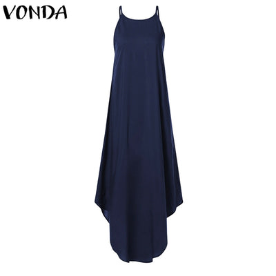 VONDA Women Strap Long Dress Summer Sexy Sleeveless Backless Party Maxi Dresses Female Casual Loose Vestido Plus Size