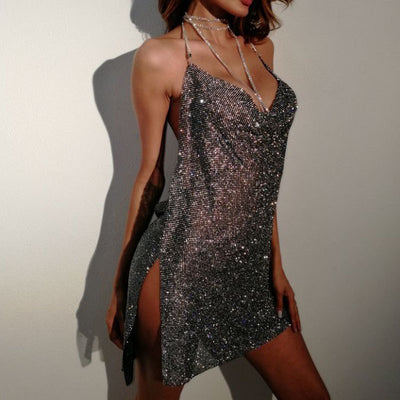 Vefinear Sexy Shiy Summer Backless Dress Women Beach V Neck Rhinestone Dress Nightclub Mini Sexy Party Bling Dresses Vestidos