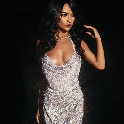 Vefinear Shining Summer Backless Dress Women Beach Deep V Neck Rhinestone Dress Nightclub Mini Sexy Party Bling Dresses Vestidos