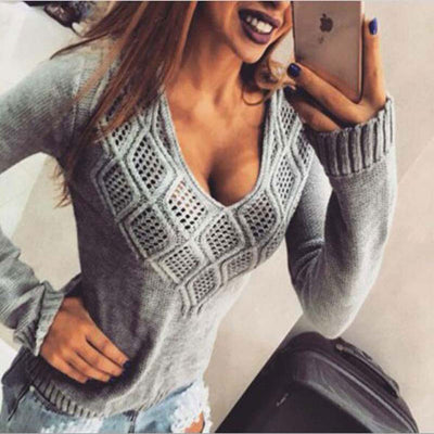 Venlilulu Autumn Knitted Sweater Woman Winter Hollow Out Sexy Sweaters and Pullovers V-neck Ladies Sweater Pullover Tops