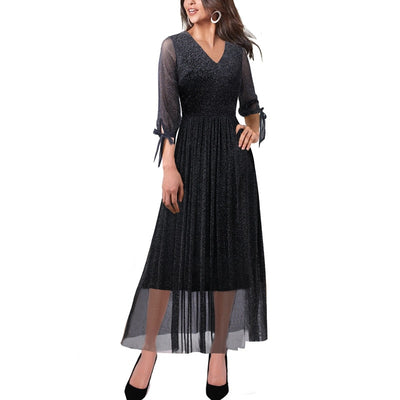 Women Sexy V Neck Shiny See-Through Tulle Lace 3/4 Puff Sleeve Pleated Casual Cocktail Party Flare A-Line Long Dress 789