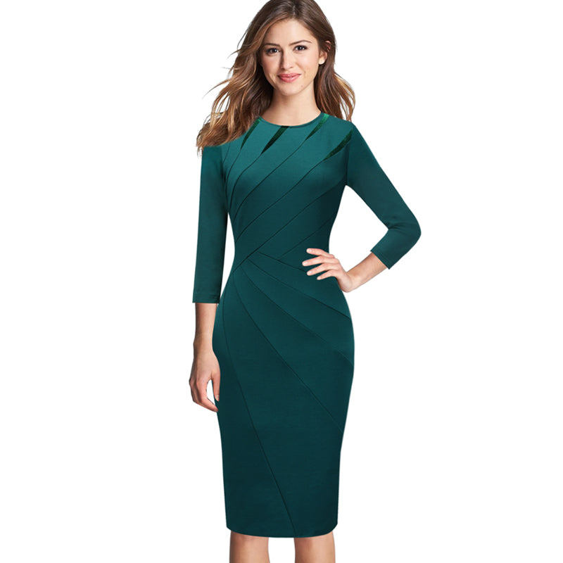 7be6f8ac90a Vfemage Womens Autumn Winter Elegant Patchwork Slim Casual Work Business Office  Party Fitted Bodycon Pencil Sheath